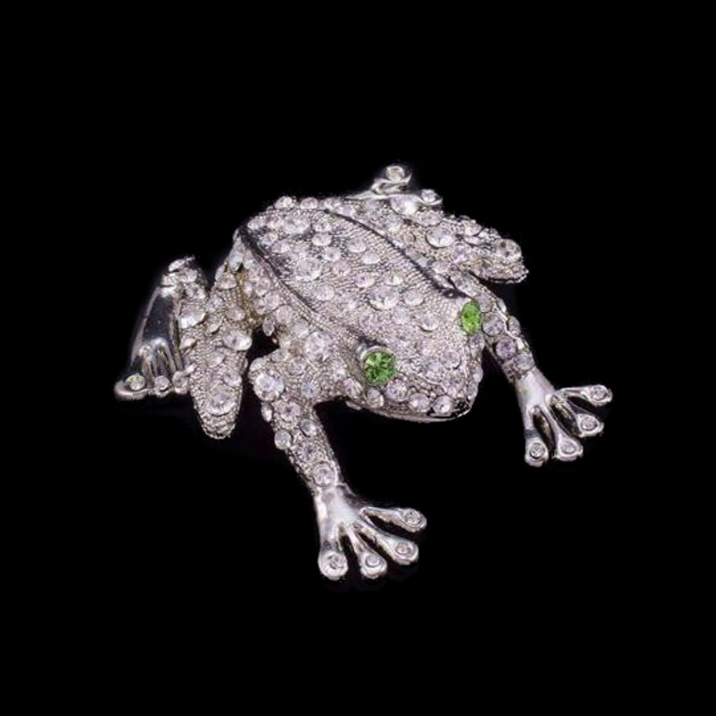 Rivet the Frog Paperweight Collectible Featuring Swarovski ® Crystals | Peridot Eyes