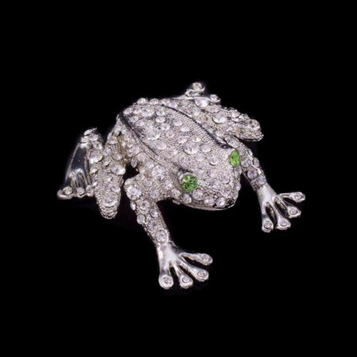 Rivet the Frog Paperweight Collectible Featuring Swarovski © Crystals / Peridot Eyes