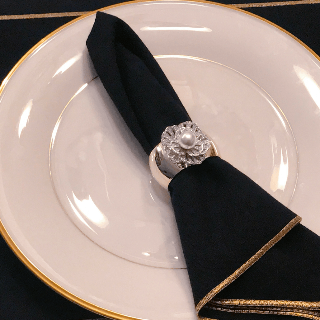Single Pearl Napkin Ring Featuring Swarovski ® Crystal | Set of 4
