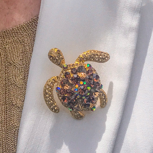 Topaz Crystallized Turtle Brooch Pin