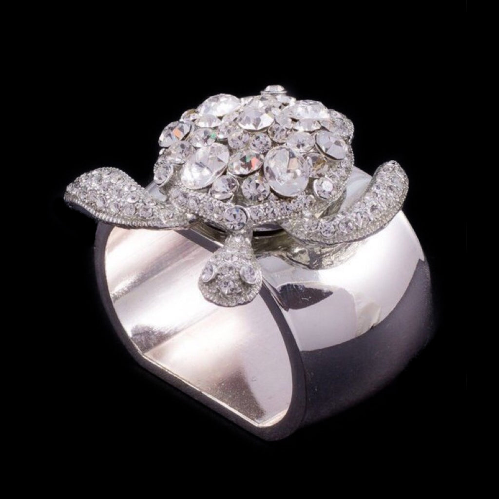 Sea Turtle Napkin Ring Featuring Clear Swarovski © Crystal / Set of 4