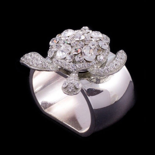 Sea Turtle Napkin Ring Featuring Clear Swarovski © Crystal | Set of 4