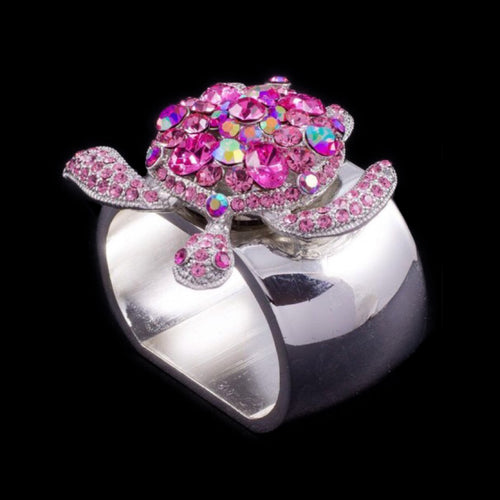 Turtle Napkin Rings Featuring Pink Swarovski © Crystals | Sets of 4