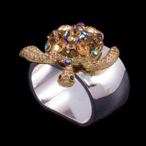 Sea Turtle Napkin Ring Featuring  Topaz Swarovski © Crystal / Set of 4