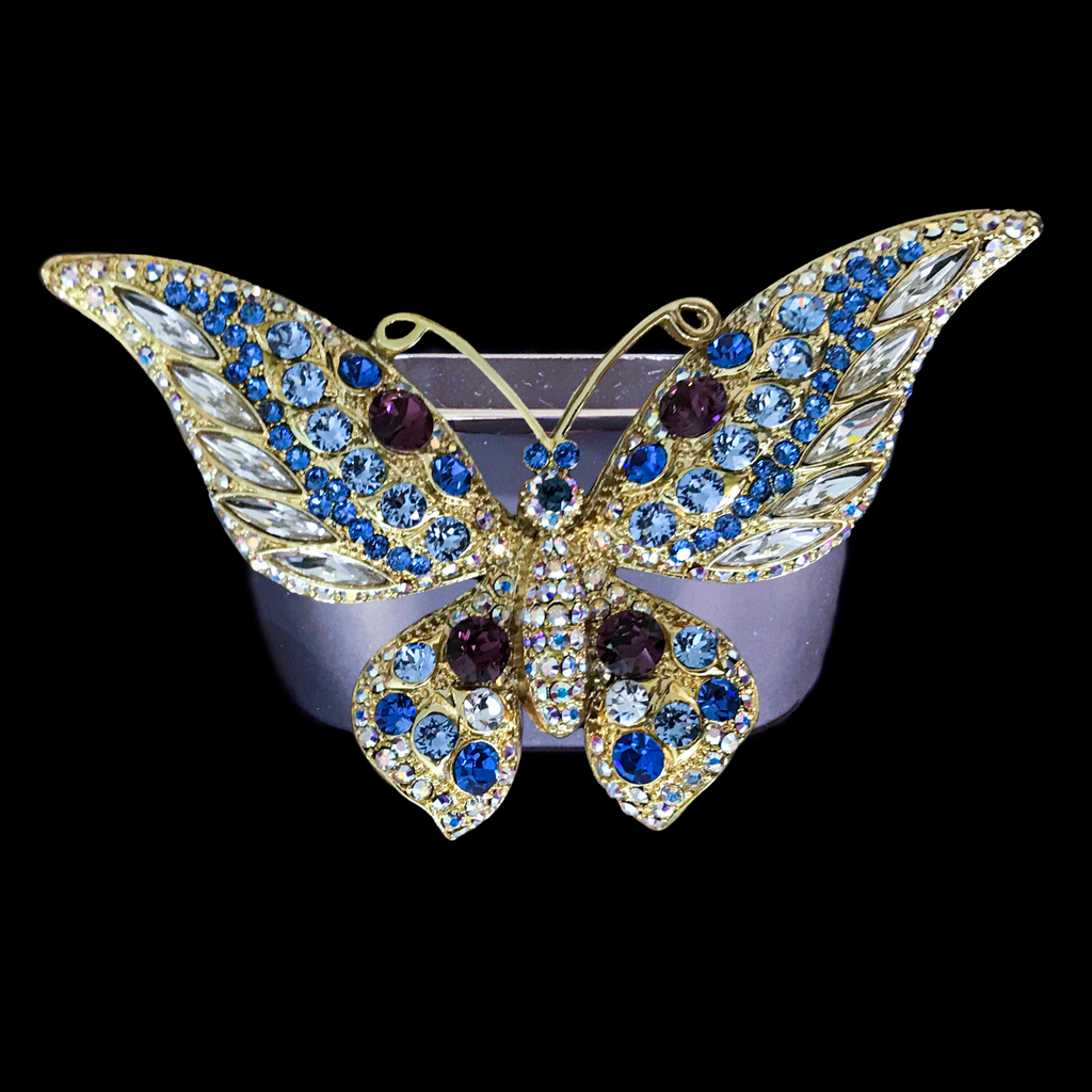 Montana Blue / Amethyst Crystal Mix Butterfly Napkin Rings Featuring Swarovski © Crystal / Set of 4