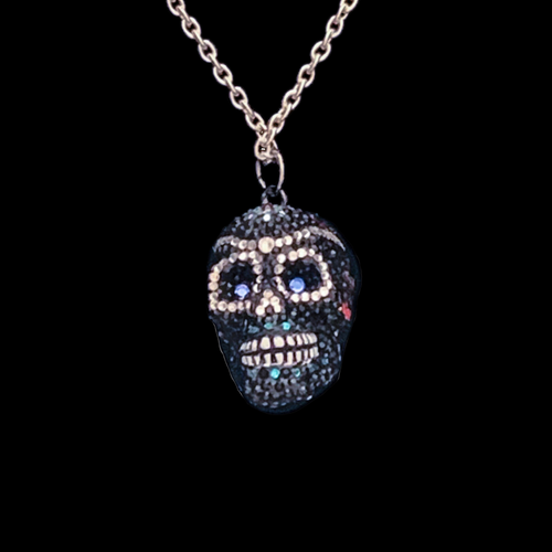 Black Sugar Skull Necklace Featuring Swarovski © Crystals