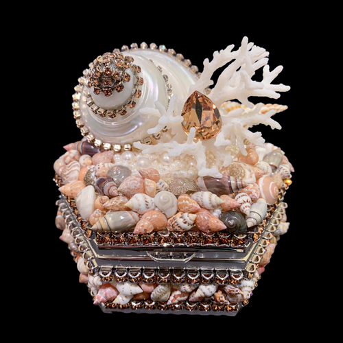 Topaz Hexagon Box Featuring Swarovski © Crystals & Natural Seashells