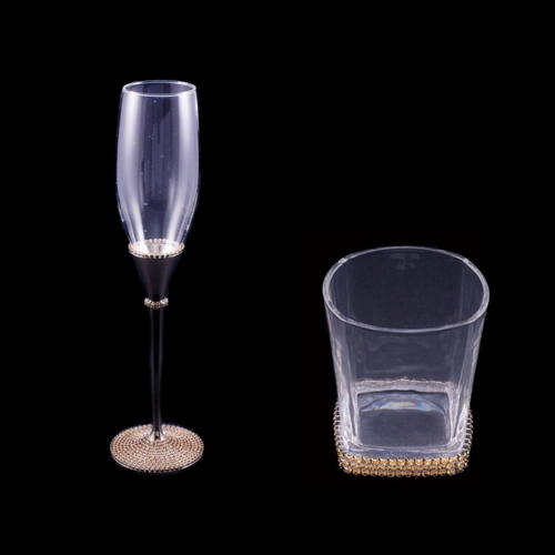 Drink Glass and Champagne Flute Set Featuring Topaz Swarovski © Crystals