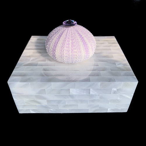 Mother of Pearl Violet Sea Urchin Keepsake Box Featuring Swarovski © Crystal