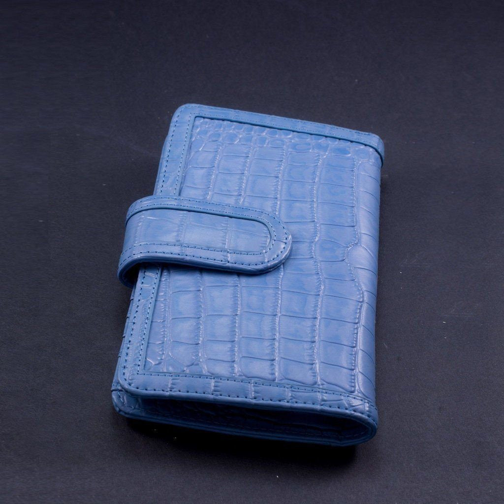 Python Embossed Leather Wallet | Blue
