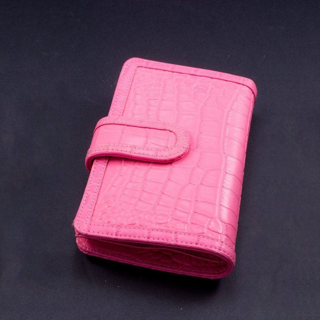 Python Embossed Leather Wallet | Pink