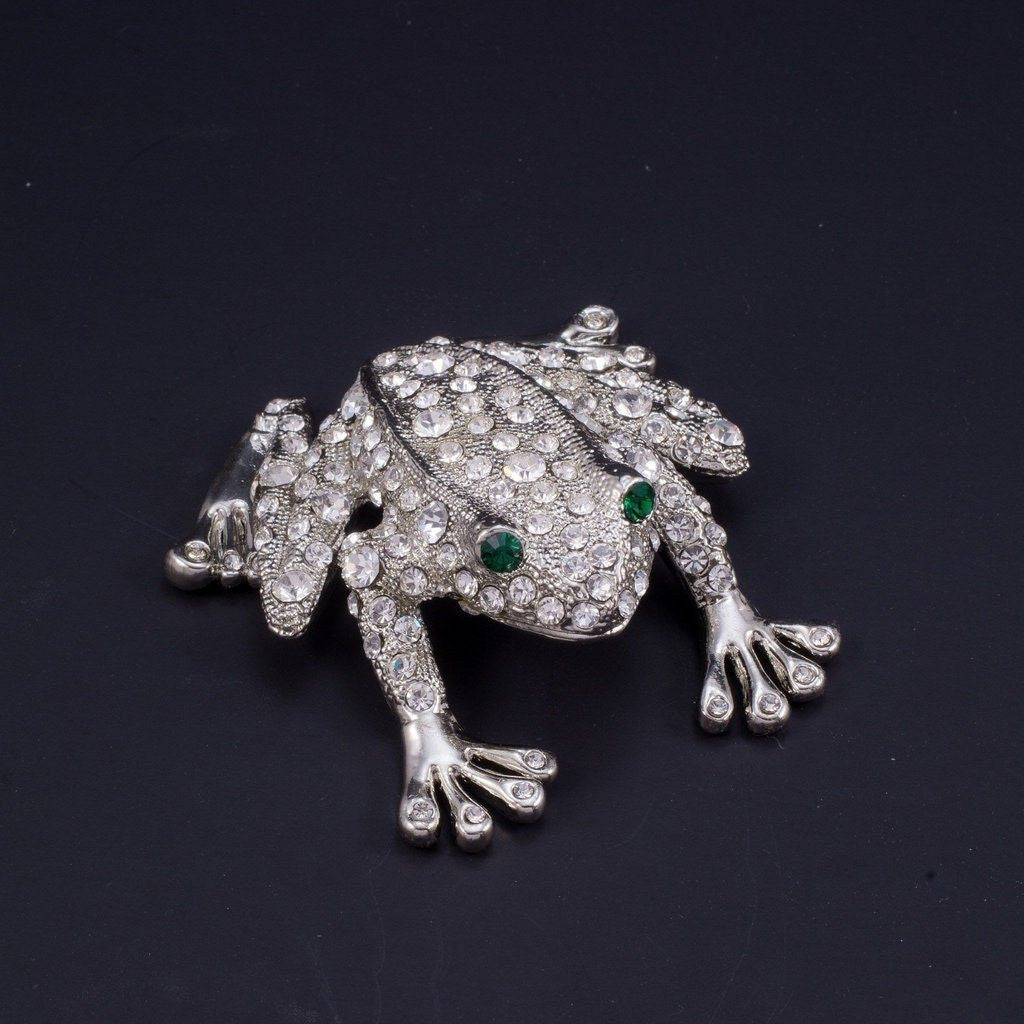 Rivet the Frog Paperweight Collectible Featuring Swarovski © Crystals | Emerald