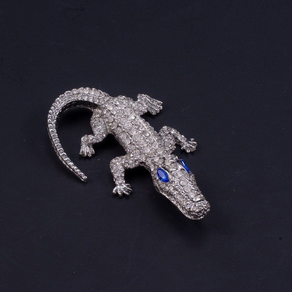 Small Crocodile Paperweight Collectible Featuring Swarovski © Crystals | Sapphire