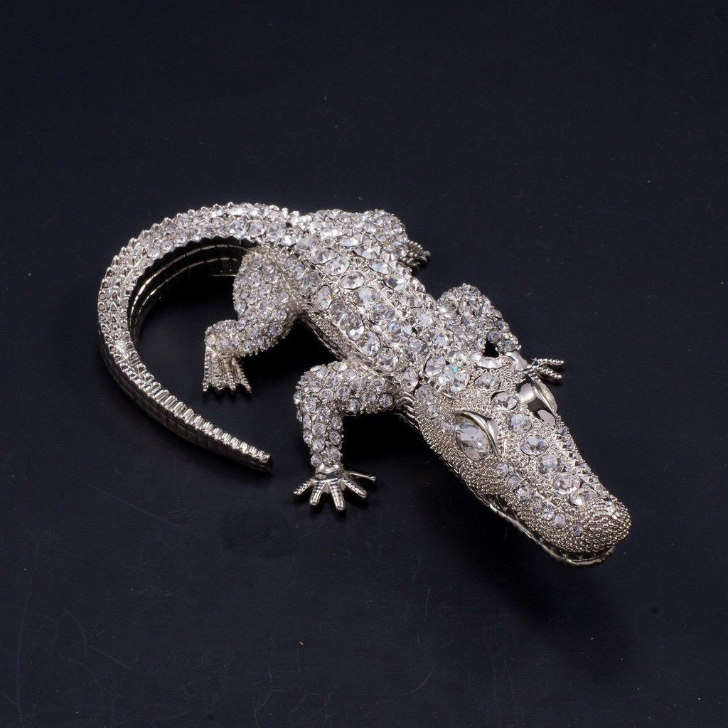 Large Crocodile Paperweight Collectible Featuring Swarovski © Crystals | Clear