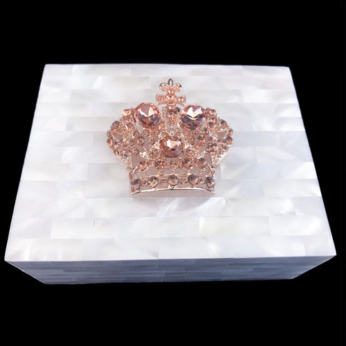 Mother of Pearl Deluxe Bronze Crown Keepsake Box Featuring Swarovski © Crystals