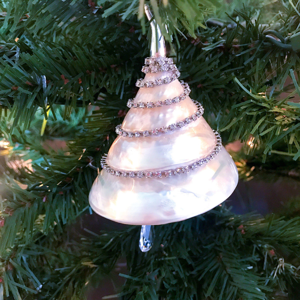 Pearl Troca Shell Christmas Ornament with Swarovski © Crystals