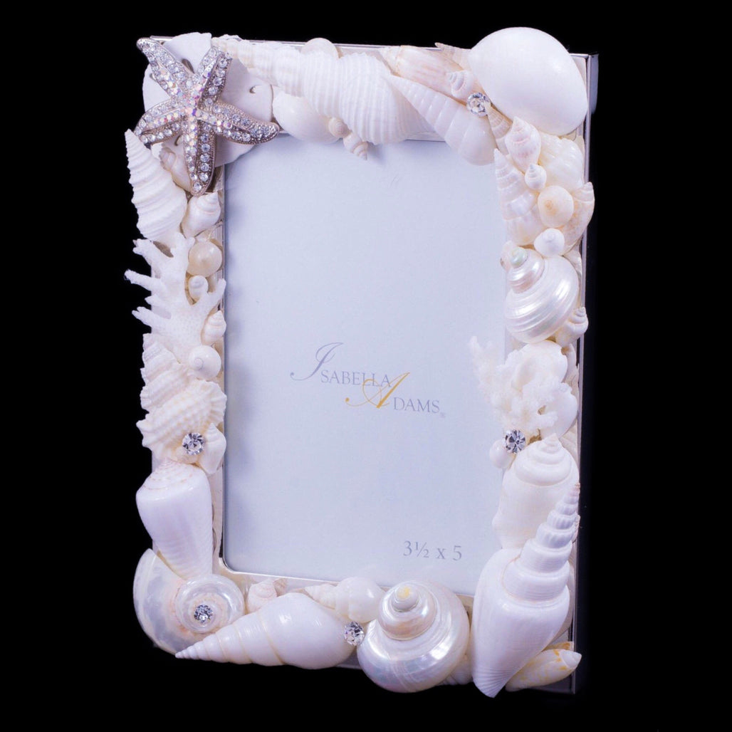 3.5 x 5 Starfish Picture Frame Featuring Swarovski © Crystals and Seashells