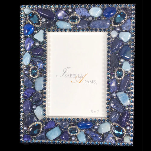5 x 7 Montana Blue Gemstone Picture Frame Featuring  Swarovski © Crystal