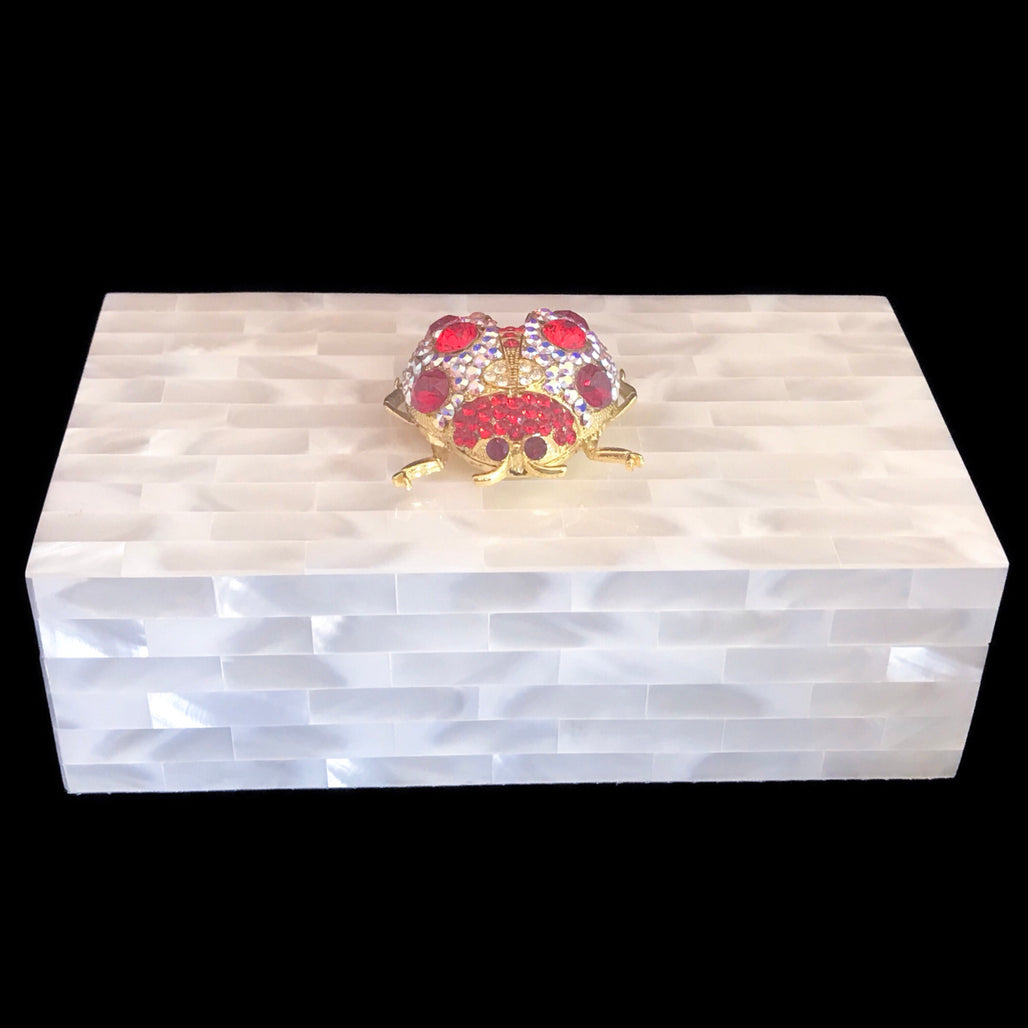 Mother of Pearl Jewelry Box Featuring Swarovski © Crystallized Lady Bug