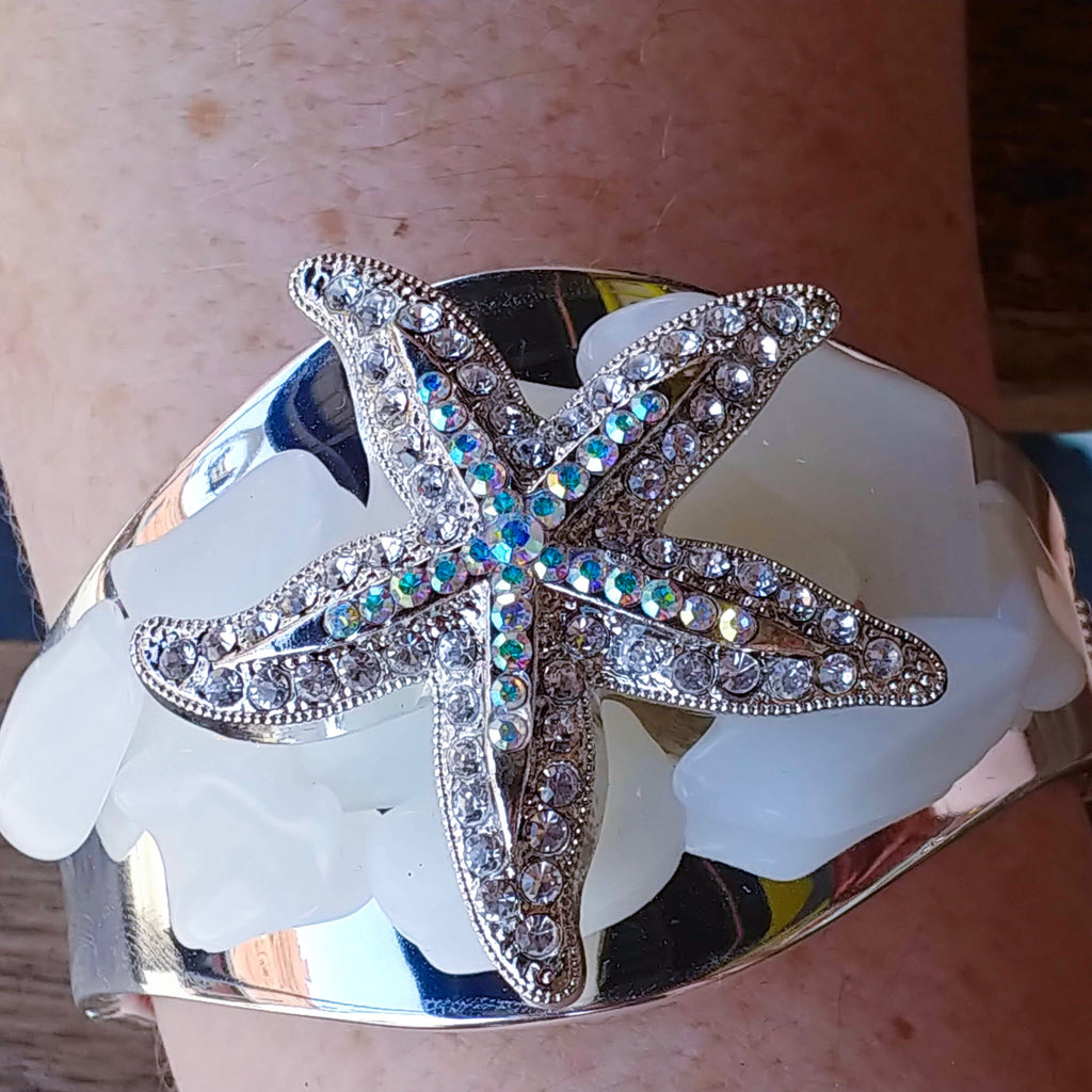 White Gemstone Cuff Bracelet Featuring Swarovski © Crystallized Starfish Adornment