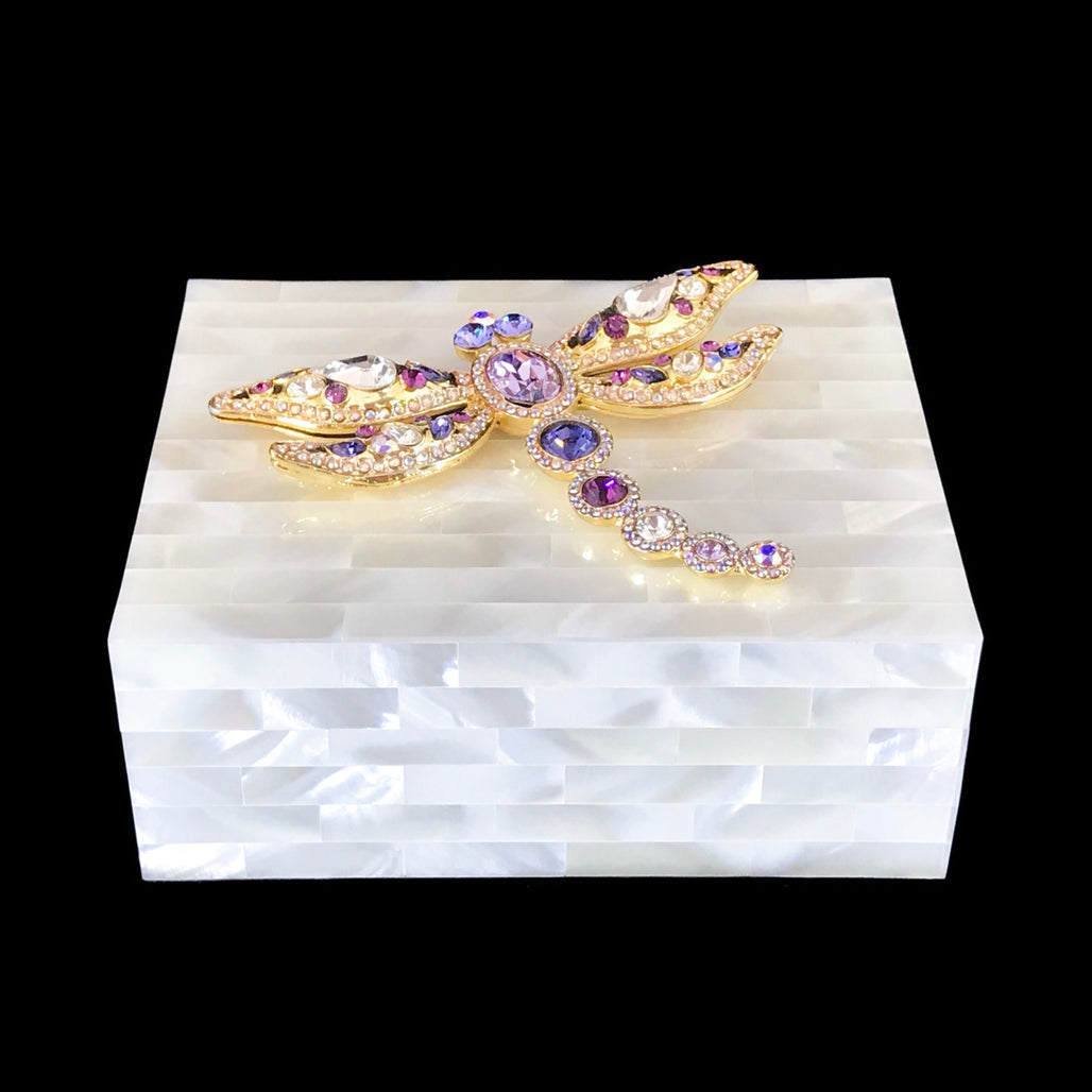 Mother of Pearl Keepsake Box Featuring Purple Swarovski © Crystallized Dragonfly
