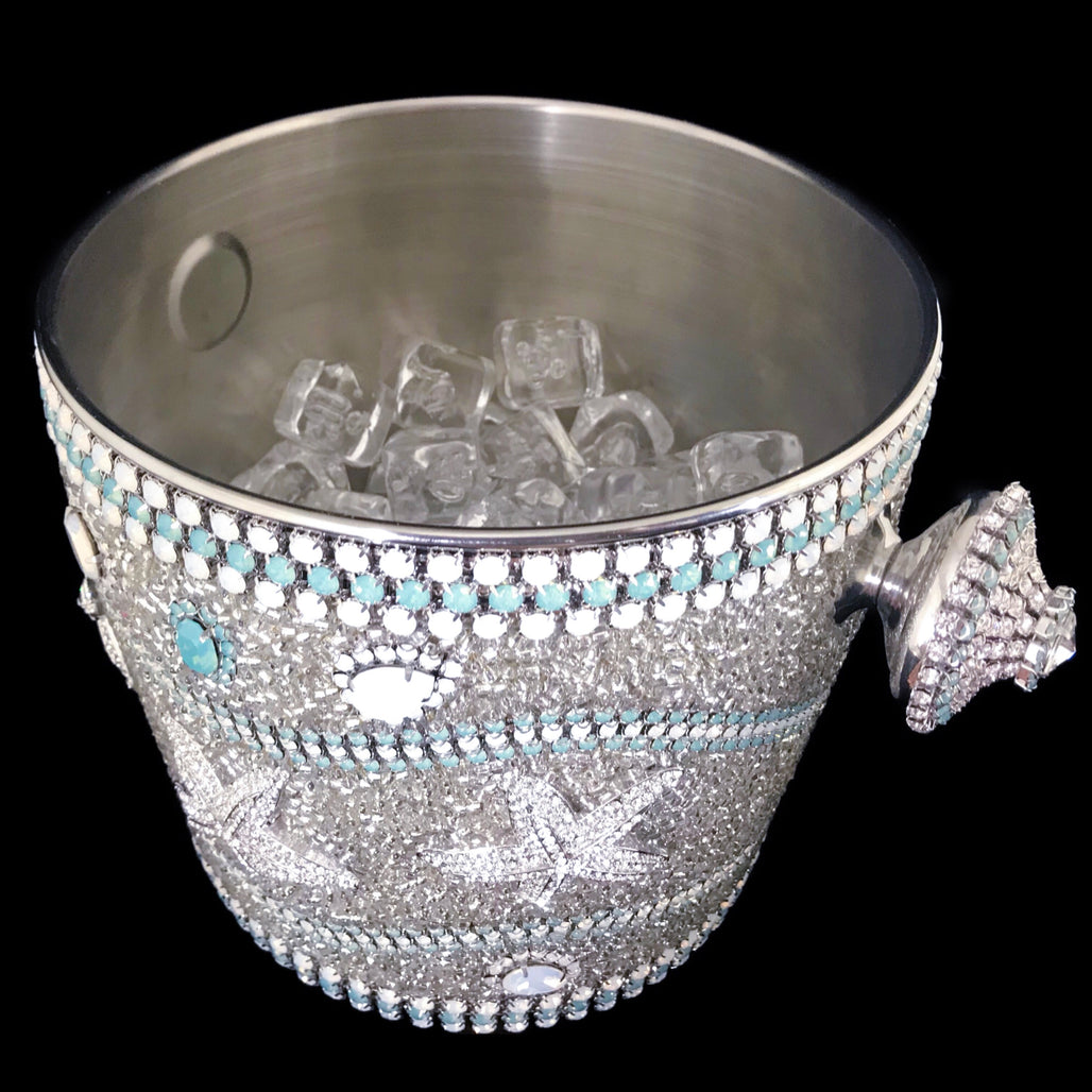Sea Life Champagne Ice Bucket Featuring Pacific Opal Swarovski © Crystals
