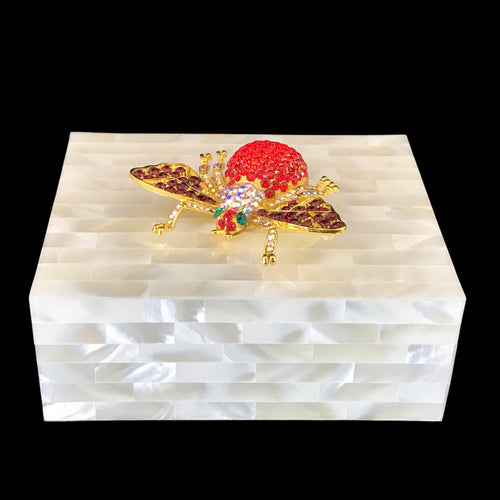 Mother of Pearl Keepsake Box Featuring Swarovski © Crystallized Bee