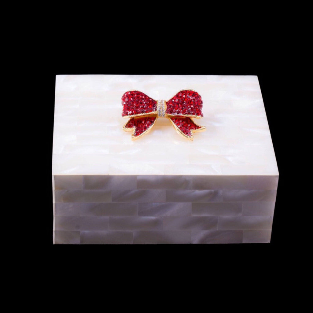 Mother of Pearl Red Bow Keepsake Box Featuring Siam Swarovski © Crystal