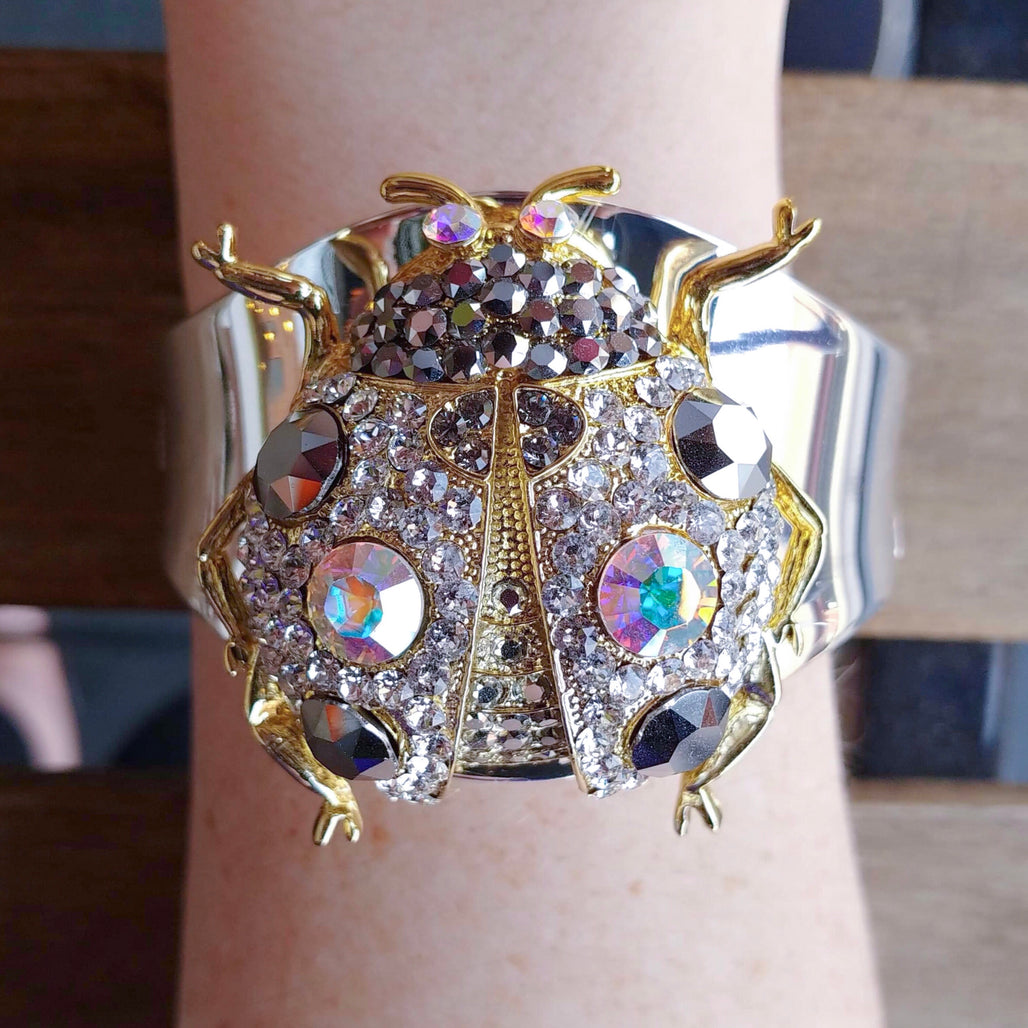 Crystallized Lady Bug Cuff Bracelets Featuring Swarovski © Crystals