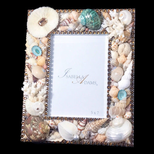 5 x 7 Sea Shell Picture Frame Featuring Topaz Swarovski © Crystals
