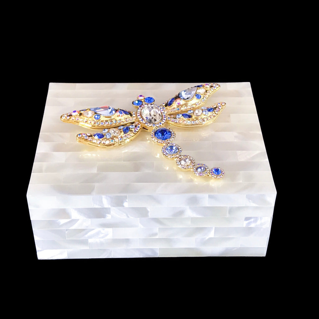 Mother of Pearl Keepsake Box Featuring Blue Swarovski © Crystallized Dragonfly