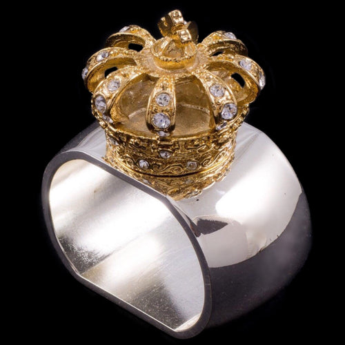 Gold Crown Napkin Ring Featuring Swarovski © Crystal | Set of 4