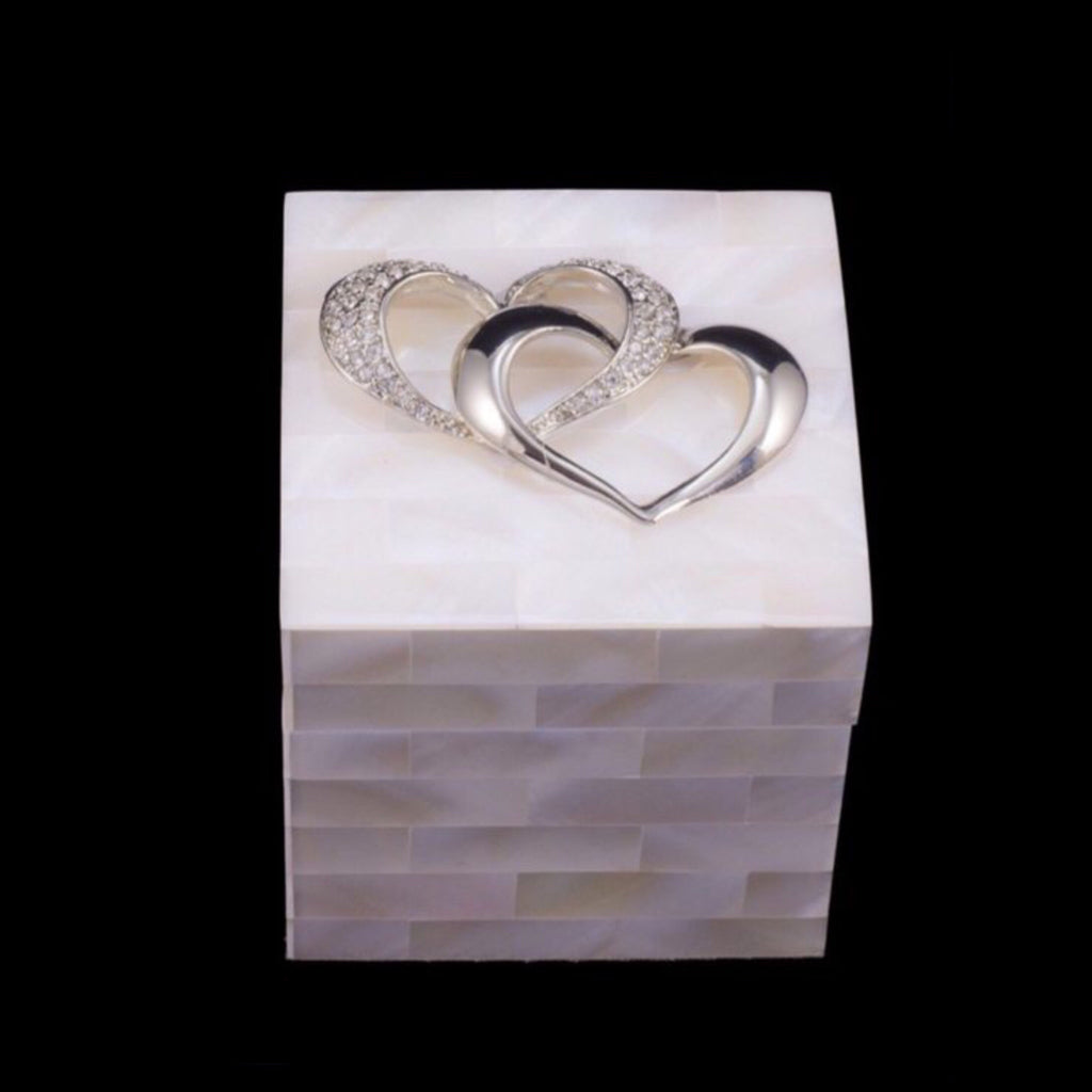 Mother of Pearl Ring Box with Locking Hearts Featuring Swarovski © Crystals