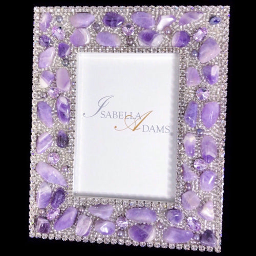 5 x 7 Picture Frame Featuring Amethyst Swarovski © Crystals and Polished Gemstones