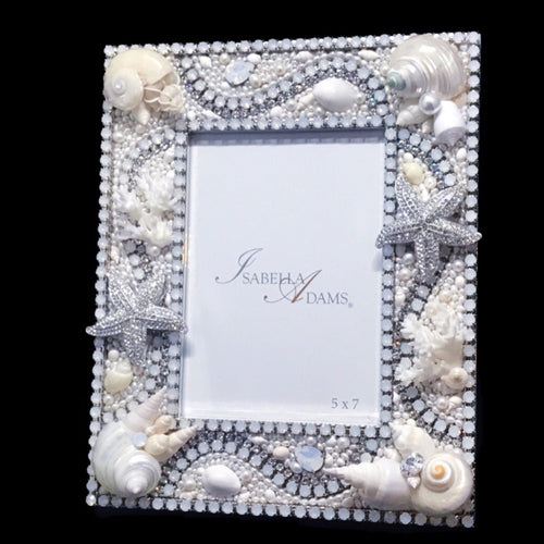 5 x 7 Sea Shell & Coral Picture Frame Featuring White Opal Swarovski © Crystals