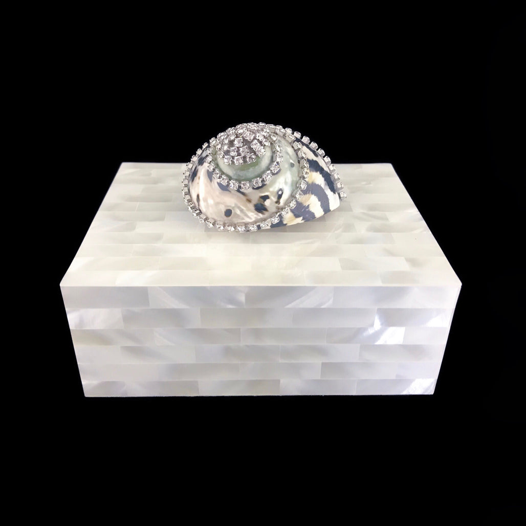 Mother of Pearl Keepsake Box Featuring Swarovski © Crystallized Black Pica Turbo Shell