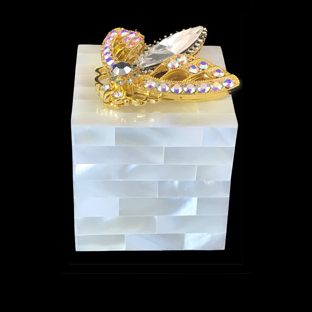 Mother of Pearl Ring Box Featuring Mixed Blue Swarovski © Crystallized Moth