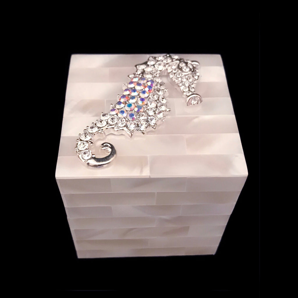 Mother of Pearl Ring Box Sea Horse Featuring Swarovski © Crystals
