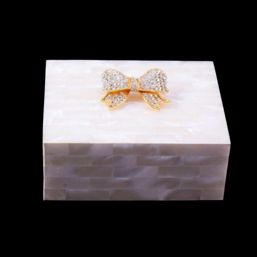 Mother of Pearl Bow Keepsake Box Featuring Clear Swarovski © Crystal
