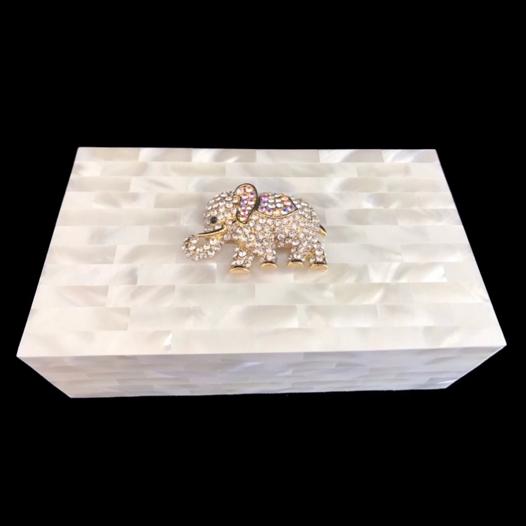 Mother of Pearl Clear & Gold Elephant Jewelry Box Featuring Swarovski © Crystals