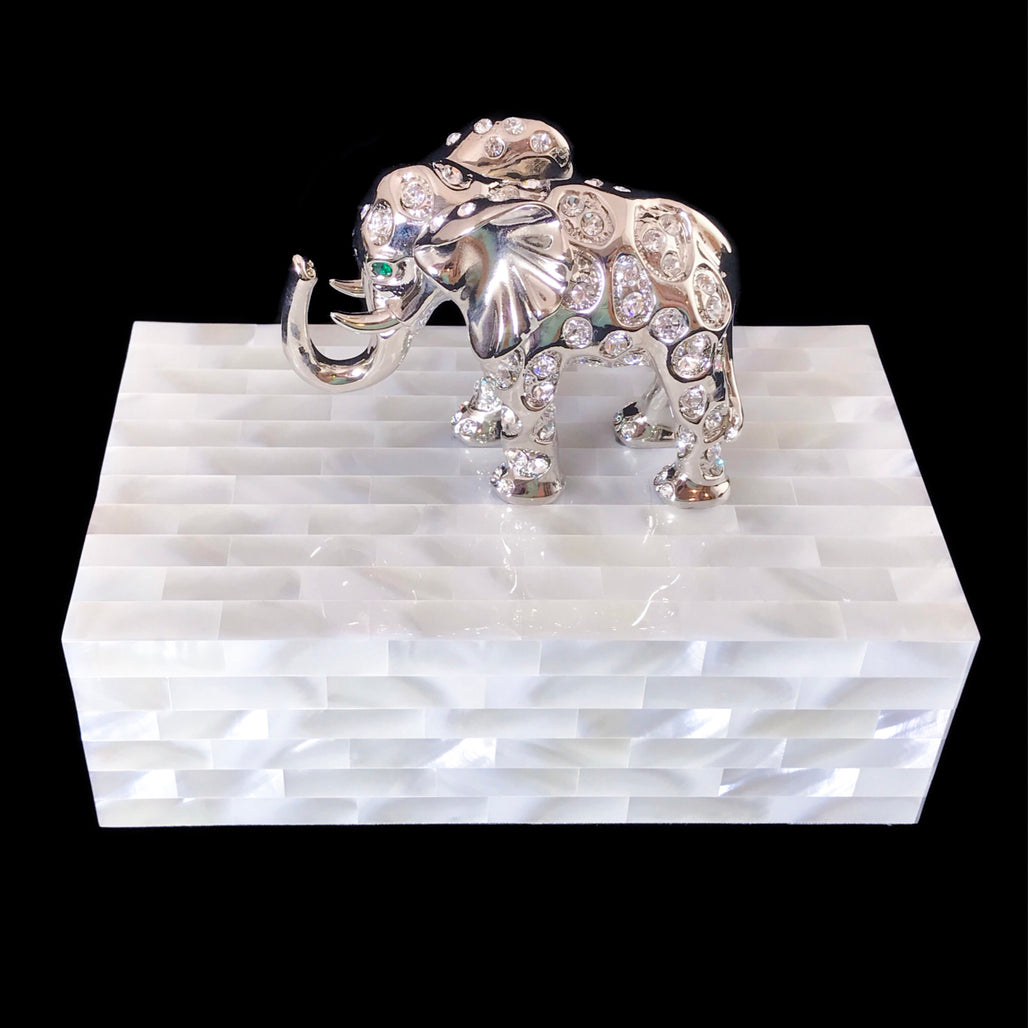 Mother of Pearl Jewelry Box Featuring Swarovski © Crystallized Elephant with Emerald Crystal Eyes