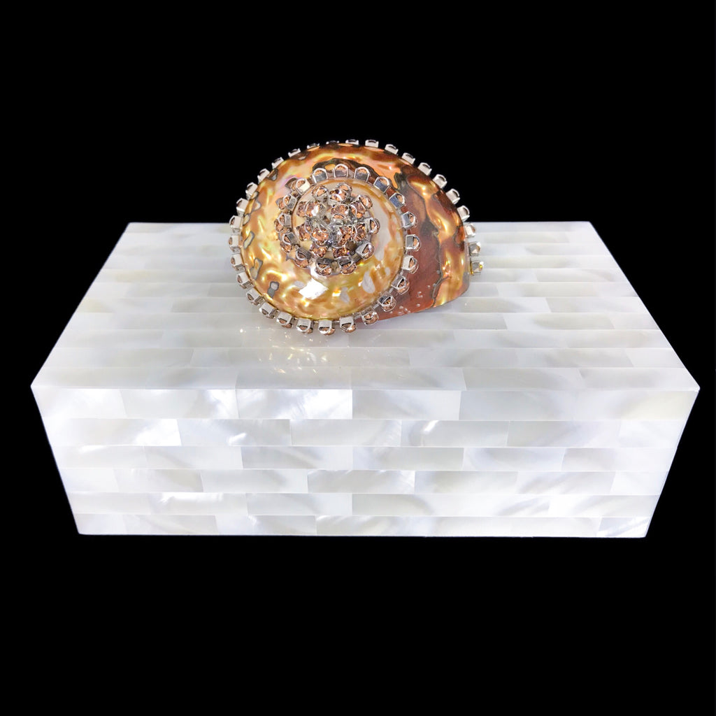 Mother of Pearl Jewelry Box with Topaz Crystallized Copper Seamanticus Sea Shell and Swarovski © Crystals