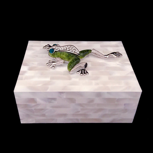 Mother of Pearl Keepsake Box Featuring Swarovski © Crystallized Green Frog