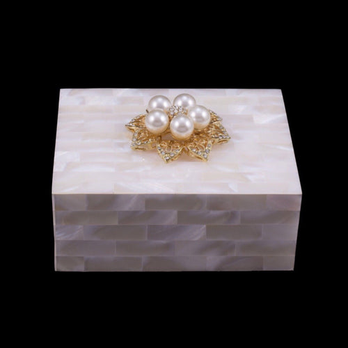 Mother of Pearl Keepsake Box Featuring Swarovski © Crystals and 5-Pearl Gold Setting