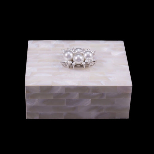 Mother of Pearl Keepsake Box Featuring Swarovski © Crystals and 4 Pearls
