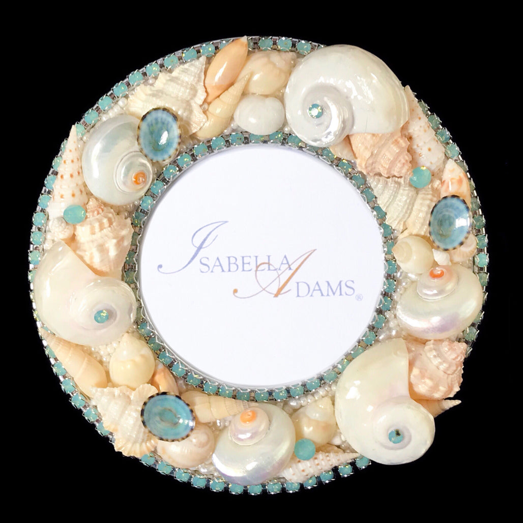 "5"" Round Seashell Picture Frame Featuring Pacific Opal Swarovski © Crystals"