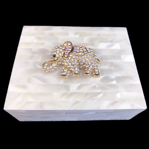 Mother of Pearl Clear & Gold Elephant Keepsake Box Featuring Swarovski © Crystals
