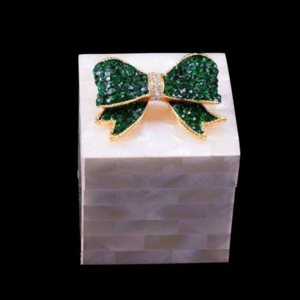 Mother of Pearl Ring Box Featuring Swarovski © Crystallized Bow  |  Emerald
