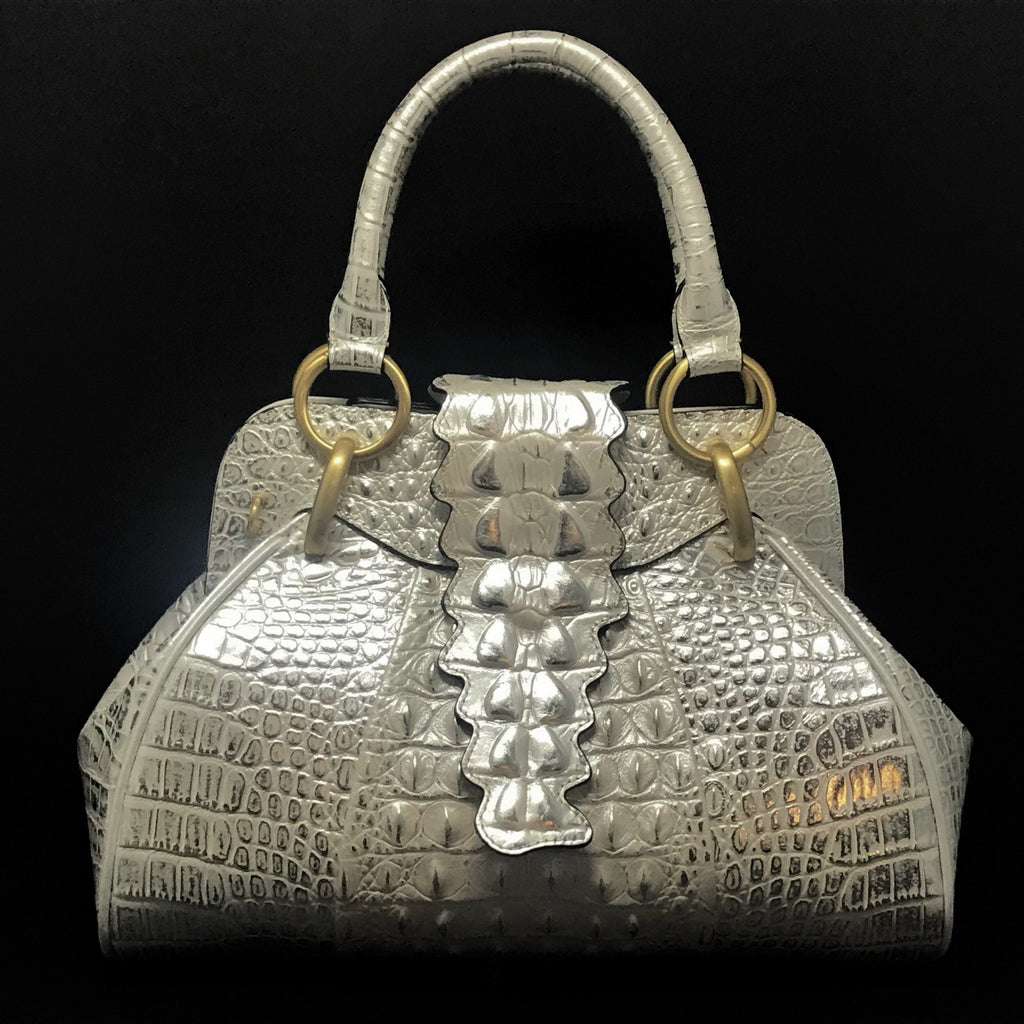 Croco Tail Embossed Leather Satchel Bag | Metallic White