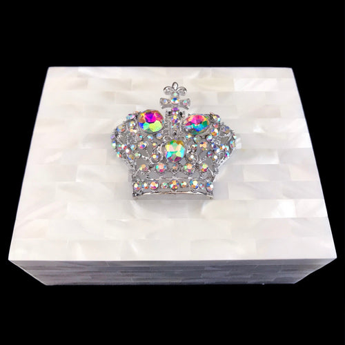 Mother of Pearl Deluxe Silver Crown Keepsake Box Featuring Swarovski © Crystals